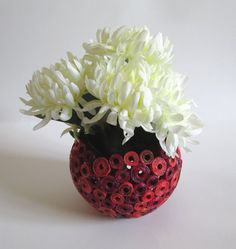 Recycled magazine vase, spherical, red - orange, unikat, eco friendly, recycling (without decoration), 1st anniversary gift