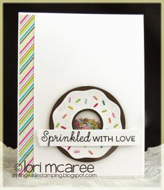 Smiling while Stamping: Sprinkled! handmade love/shaker card using My Favorite Things Donut die-namics and Donuts and Sprinkles stamp set