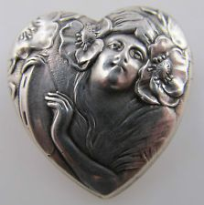 UNGER BROTHERS LADY FACE PIN LOCKET FLOWERS ART NOUVEAU STERLING SILVER ANTIQUE