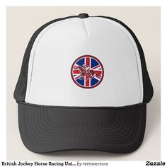 British Jockey Horse Racing Union Jack Flag Trucker Hat - Fashionable Urban And Outdoor Hunter Farmer Trucker Hats By Creative Talented Graphic Designers - #hats #truckerhats #fashion #design #designer #fashiondesigner #style #trends #bargain #sale #shopping - Trucker Hats are a great way to cheer your team or promote your brand or make a unique fashion statement or simply keep the sun out of your eyes - Customizable trucker hats are the perfect way to look cool and memorable - Trucker Hats…