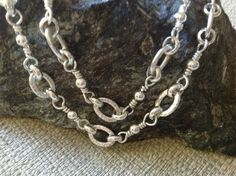 Handmade Heavy Sterling Artisan Chain Necklace, Sterling Silver Handcrafted Wire Link Chain Necklace in Varying Lengths