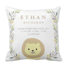 Woodland Forest Delivery Stats- Lion Nursery Pillow. ** See more at the photo link