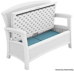 White Deck Storage Bench Box Outdoor Patio Wicker 23 Gallon All Weather Loveseat #Suncast