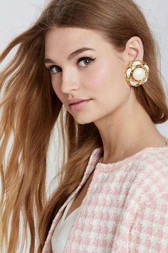 Vintage Chanel White Stone Camellia Earrings