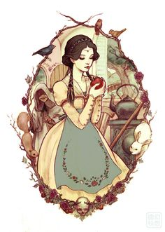 art, spot illustration, figure, woman, holding, animal, rabbit, bird, squirrel, floral, frame, Snow White, fairy tale.