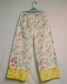 Pajama Pants from a Vintage Pillowcase (or from sheets for an adult... buy from thrift stores for inexpensive, comfy pajamas!) ~*~