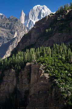 The Karakoram range mountain : Ladyfinger Peak (6000 m.) | photo taken from Hunza valley, Gilgit Baltistan - Pakistan.