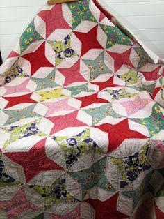 "Antique Feedsack FLOUR SACK Quilt circa 1900's Handmade Star Pattern 70"" by 58"", eBay, makeovermaster"