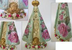 Crendo Artes: Nossa Senhora Aparecida - Técnica Decoupage Decoupage, Santa Miriam, Statues, Religious Art, Altar, Decorative Bells, Diy Tutorial, Color Mixing, Fun Crafts