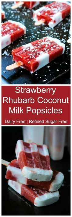 Strawberry Rhubarb Coconut Milk Popsicles - a cool, refreshing, creamy, sweet and tart dairy free summer treat! Thanks for for the recipe for this cool rhubarb treat. Vegan Sweets, Vegan Desserts, Just Desserts, Dessert Recipes, Weight Watcher Desserts, Summer Snacks, Summer Treats, Frozen Desserts, Frozen Treats