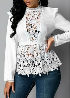 Stylish Tops For Girls, Trendy Tops, Trendy Fashion Tops, Trendy Tops For Women Long Sleeve Tops, Long Sleeve Shirts, Trendy Tops For Women, Long Blouse, Blouse Styles, Mock Neck, Women Lingerie, Fashion Outfits, Sleeves