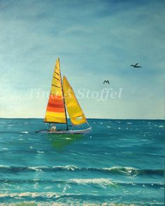 Fort Myers Beach Sailboat Original OIl Painting