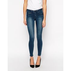 ASOS 'Sculpt Me' Premium Jean In London Blue ($32) ❤ liked on Polyvore