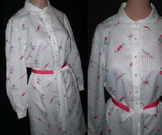 Vintage 60s Shirt Dress Embroidered Flowers