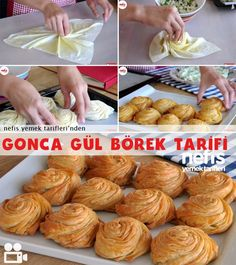 How to make Gonca Rose Pastry - Anna Home Good Food, Yummy Food, Tasty, Pastry Design, Wie Macht Man, Snacks Für Party, Bread And Pastries, Arabic Food, Turkish Recipes