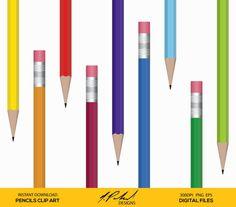 items similar to pencil digital clip art digital file pencils clipart colorful pencil clipart office supplies clip art school clipart png eps