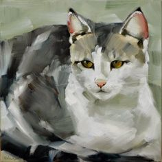 "Cheryl Wilson:  MichelOil on Canvas10x10""      This cat is so bea..."