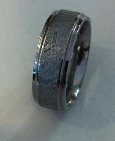 Meteorite center with stepped edge Titanium and lining, wide, light weight and super nice. Wedding Rings For Women, Rings For Men, Gibeon Meteorite, Custom Made Engagement Rings, Gents Ring, Ring Crafts, Nice, Couples, Awesome