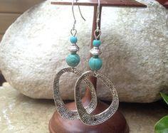 Bohemian earrings, Turquoise Jewelry, Ethnic earrings, Boho earrings, Tribal earrings, Turquoise Earrings