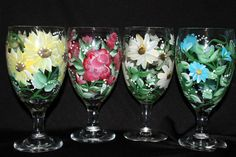 Hand Painted Floral Water / Iced Tea Glasses by Brusheswithaview, $50.00