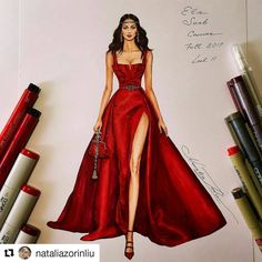 "5,477 Likes, 33 Comments - Eris Tran (@eris_tran) on Instagram: ""I'm a fabulous lady at the party. Inspired by @georgeshobeika haute couture fall 2017 #sketch…"""