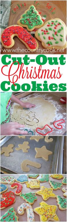 Fail-Proof Cut-Out Sugar Cookies and simple icing recipe from The Country Cook christmas cooking ideas dinners Christmas Sugar Cookie Recipe, Sugar Cookies Recipe, Holiday Cookies, Holiday Baking, Christmas Desserts, Holiday Treats, Holiday Recipes, Christmas Recipes, Christmas Snacks