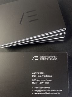 Minimal Black and White Business Card@AE architecture+interior design#Propeller graphics