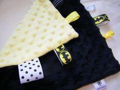 Batman Yellow and Black Minky Lovey Blanket by MunchkinMeadow, $8.00