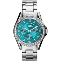 Fossil Ladies Riley Color Glitz Stainless Steel Bracelet Watch ($86) ❤ liked on Polyvore featuring jewelry, watches, silver, fossil jewelry, stainless steel wrist watch, bracelet watch, stainless steel jewellery and stainless steel bracelet watch
