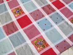 Vintage Red White Blue & Gray Plaid Floral Embroidered Bedspread Coverlet 86x96 - Bedspreads