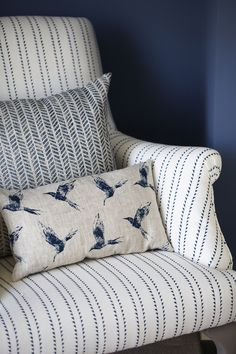 Inky Sky Indigo linen prints for curtains, cushions and blinds fabric. www.zoeglencross.com