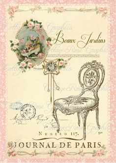 Large digital download Beaux Jardins Paris French pink roses chair single image…