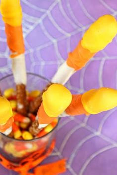 Candy corn white chocolate covered pretzels