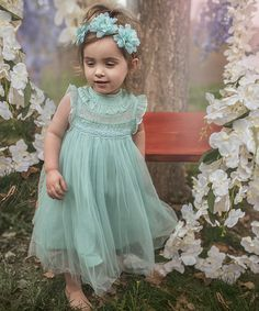 This Island Paradise Blue Ruffle-Accent Smocked A-Line Dress - Toddler & Girls is perfect! #zulilyfinds
