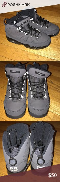 Jordan retro 9 Size 1 youth. Great condition barley used. These are matte black over black. Jordan Shoes Sneakers