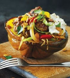 Stuffed Acorn Squash with Turkey Sausage  Diners, Drive-Ins & Dives host Guy Fieri shares one of the reasons he now likes squash: a Stuffed Acorn Squash recipe filled with homemade turkey sausage!