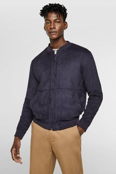 FAUX SUEDE BOMBER - Item available in more colors Zara Man Jacket, Zara United States, Sport Wear, Casual, Bomber Jacket, Women Wear, Shirt Dress, Suits, Mens Tops