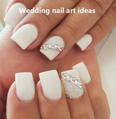 Stunning 30 Latest Nail Art Designs Ideas For Prom 2019 Neutral Wedding Nails, Simple Wedding Nails, Wedding Day Nails, Wedding Manicure, Wedding Nails Design, Glitter Wedding, Weding Nails, Wedding Nails For Bride Natural, Bridal Pedicure