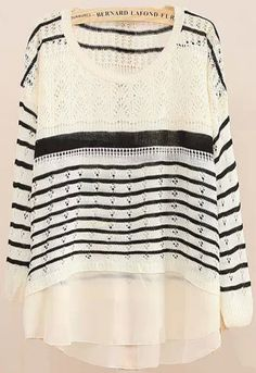 Buy White Long Sleeve Striped Loose Knitwear from abaday.com, FREE shipping Worldwide - Fashion Clothing, Latest Street Fashion At Abaday.com