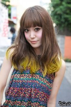 Yellow dip-dye.! Go ahead and inject just your ends with a bold, contrast-y-hue ... It's one of the most popular shade trends!!