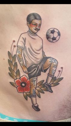 Soccer player by Renae Haak at Diabolik Tattoo Newcastle Australia.