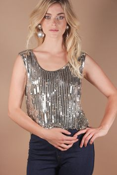 70s Vintage Silver Sequin Disco Blouse | Studio 54 Factory Girl Twiggy Sparkle Top | Silver Glam Party Shirt | Medium by AmericanDrifter on Etsy