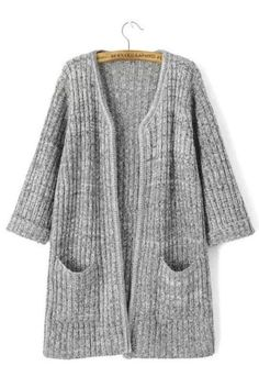 To find out about the Light Grey Long Sleeve Pockets Knit Cardigan at SHEIN, part of our latest Sweaters ready to shop online today! Cute Sweaters, Cardigan Sweaters For Women, Cardigans For Women, Grey Knit Cardigan, Classic Wardrobe, Pullover, Sweater Weather, Casual, Clothes