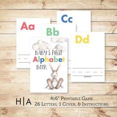 Alphabet Game Baby Shower DIY ABC Book 4x6 Baby's by HewittAvenue