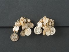Vintage Earrings Japan Pearl and Coin from  ShinyShelly on Etsy