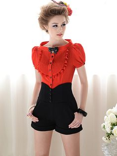 Morpheus Boutique  - Red Vintage Style Ruffle Cap Sleeve Chiffon Bow Shirt, CA$61.53 (http://www.morpheusboutique.com/red-vintage-style-ruffle-cap-sleeve-chiffon-bow-shirt/)