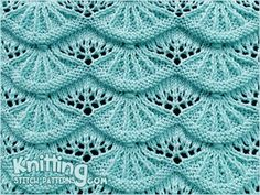 Lovely knitted lace stitch. Called Alsacian Scallop. (Written + video tutorials)