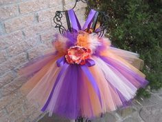 PURPLE ORANGE PEACH.  Tutu Dress.  Birthday Tutu by ElsaSieron