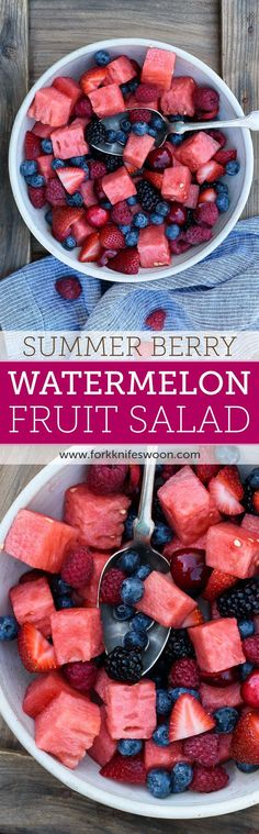 Berry Watermelon Fruit Salad | Fork Knife Swoon /forkknifeswoon/. Awesome salad for kids