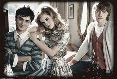 Daniel Radcliffe,Emma Watson & Rupert Grint